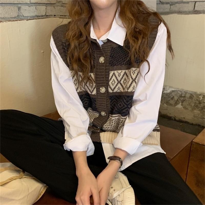 2 Farben Frühling Herbst Vintage Stil Plaid Einreiher Buttons Weste Pullover Strickpullover Strickjacke Womens (C8637) Y201128