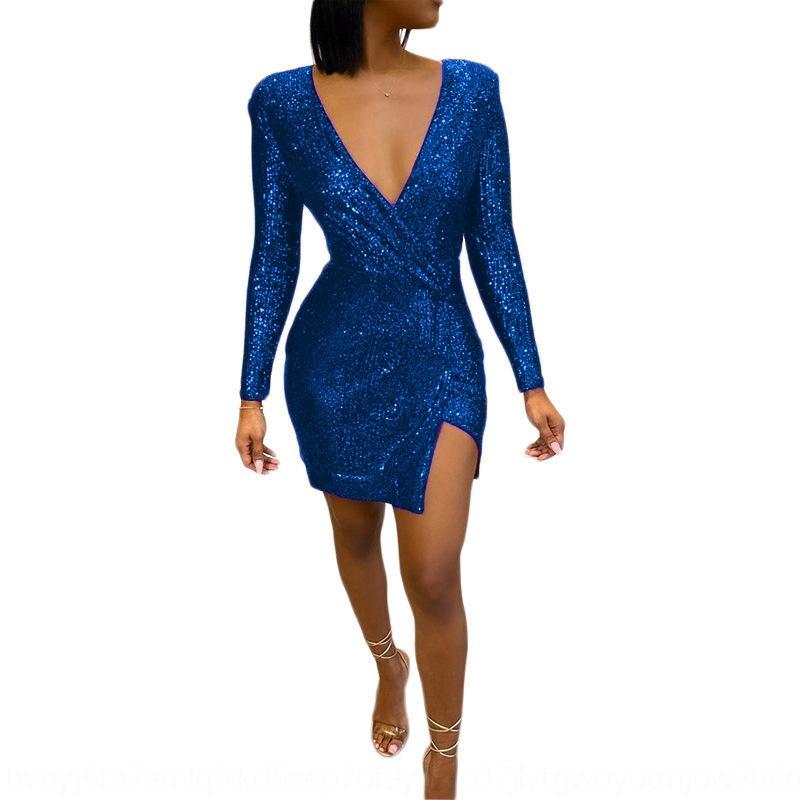 LF2F Diseño profundo Glitter Sequin Patchwork Sexy Bodycon Vestido Nuevo V Cuello en V Tres vestido de manga Fiesta de la manga del cuarto de la oficina Dama Split Vestidos