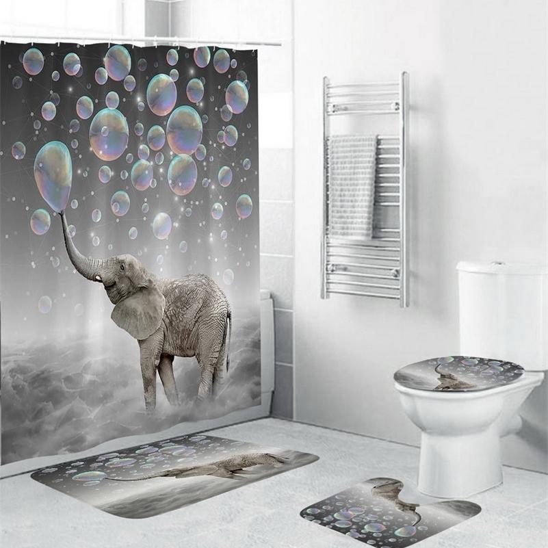 4pcs Elephant Etanche Polyester Bubbles Salle de bain Rideau de douche Tapis de toilette Tapis de plancher Tapis Tapis de plancher Tapis avec 12 crochets LJ201130