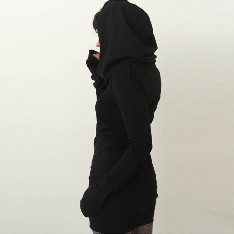 Frauen Herbst Kleid Hoodies Pullover Lange Ärmel Slim Fit Schwarz Minimalistische Kleider Xin-Shipping1