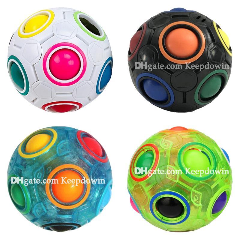 Rainbow Fidget Cubes Puzzle Ball Magic Rainbow Ball Puzzle Cube Fidget стресс с облегчением освещенности шарикового мозга Teasers игры игрушки для детей взрослых