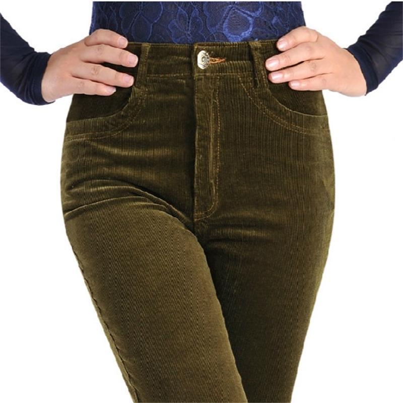 Frühling Cord Hosen Frauen Stretch Frauen Lose Hohe Taille Hosen Corduroy Hose Damen Baumwolle Frauen Hosen Plus Größe T200319