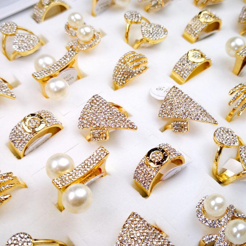 10 adet kadın yüzükleri karışık stilleri inci altın zirkon toptan yüzükler kadınlar kadın takı tops lot lr4166