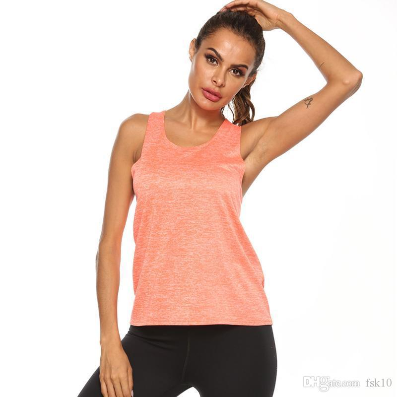 Новые Женщины Йога рубашки лето без рукавов Сыпучие Ladies Твердая спорт Тренажерный зал Фитнес упражнения Wear Плюс Размер 2020
