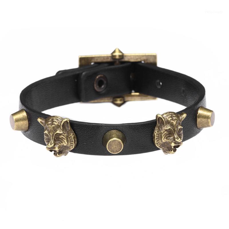 New Fashion Men's Jewelry Antique Bronze Tiger Head Punk Leather Bracelets Adjustable Alloy & Leather Male Bracelets Accessories1