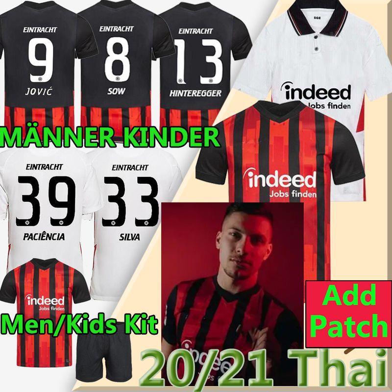 Jovic 20 21 Eintracht Frankfurt Soccer Jersey Hinteregger Silva Kostic 2020 2021 Frankfurt Football Jerseys Younes Barkok Men Kids Kit Shirt