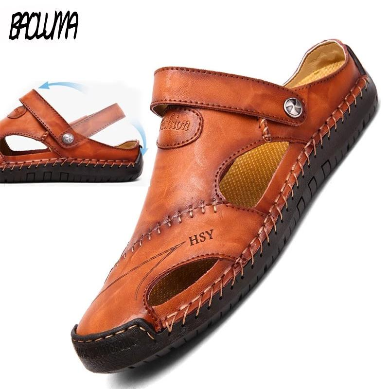 New Summer Men's Sandals Genuine Leather Sandals Moccasins Soft Shoes Beach Men's Sandals Slippers Bohemia Size 38-48 Hot Sale C0203