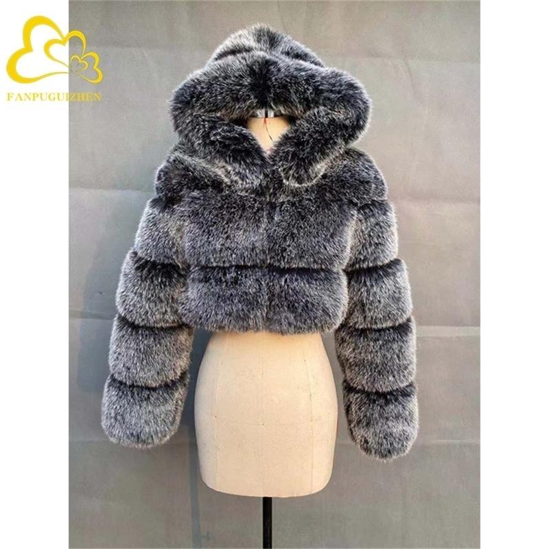 Quartos fofos fofos casacos de alta qualidade jaquetas colhidas falsas com jaqueta de pele de inverno com capuz Y201012