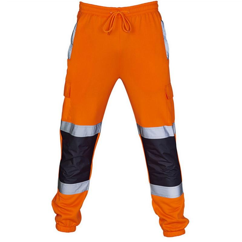 Men Road Work High Visibility Overalls Casual Poet Work Cycling Trouser Pants Mens Reflective Training Sports Pants