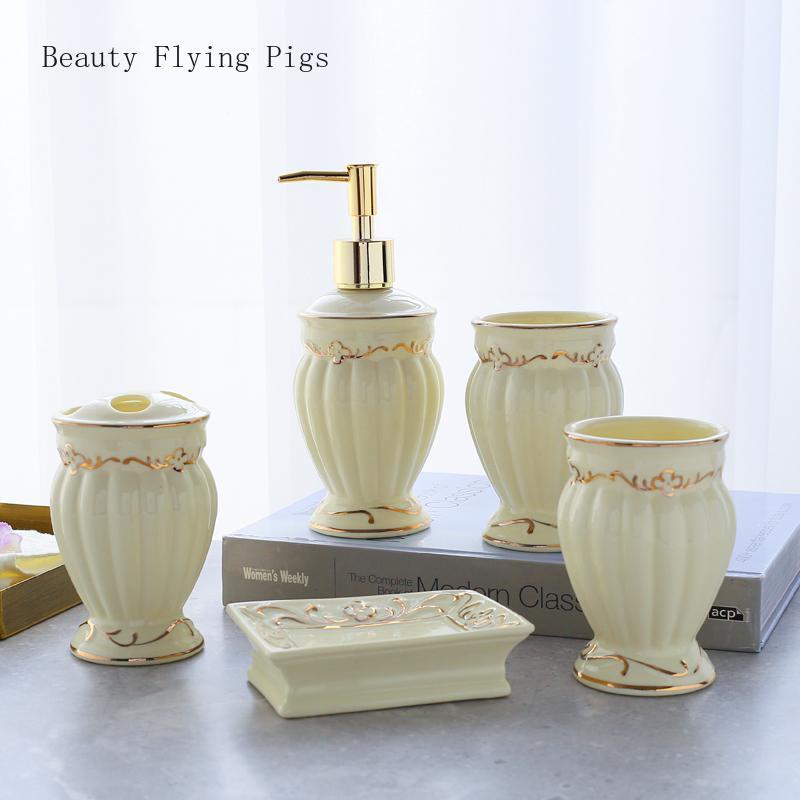 5Pcs diretto i nuovi prodotti corte bagno in ceramica forniture squisiti kit di lavaggio della tazza collutorio lozione portabottiglie spazzolino