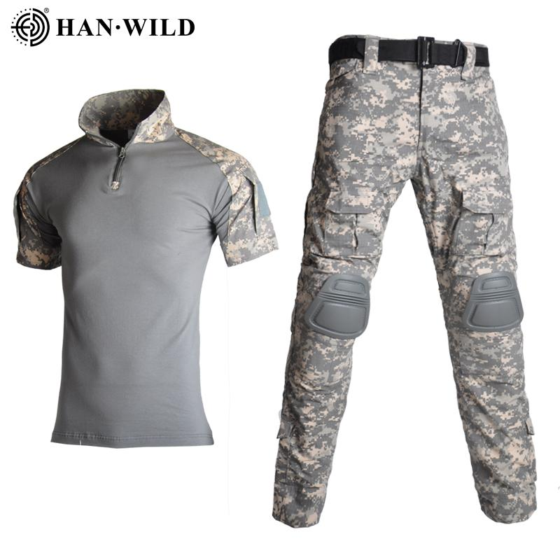 camisa tático uniforme militar T-shirt camuflagem traje camisa de caça camisa militar calças de carga do joelho