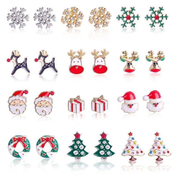 12 styles de Noël Charms Boucles d'oreilles arbre Boucles d'oreilles en alliage goutte à goutte d'huile Stud Cloches flocon de neige cotillons Boucles d'oreilles de Noël T2C5299