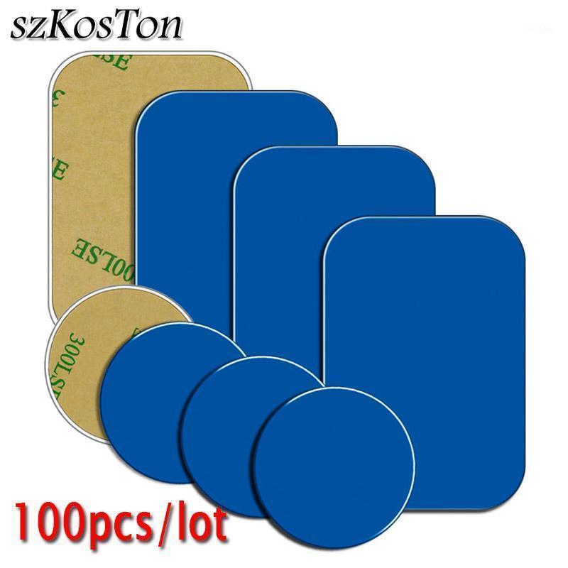Titulares Cell Mounts Suportes 100 pcs placa de metal com adesivo para suporte de carro magnético substituição folha de ferro ímã ímã