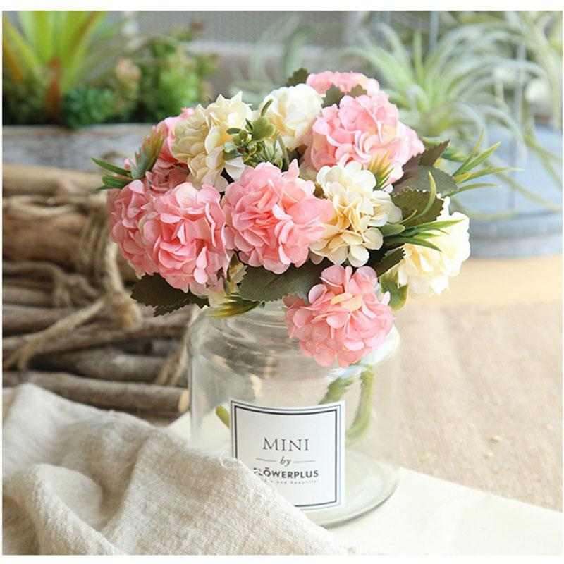 Fiori decorativi ghirlande di seta ortensie di seta artificiale di alta qualità bianco matrimonio piccolo mazzo falso fiore floreale casa per la decorazione rosa