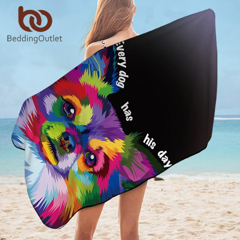 BeddingOutlet Hund Handtuch Badezimmer-Aquarell-Kunst Strandtuch für Erwachsene Bunte Tier Mikrofaser Decke Pomerani toalla