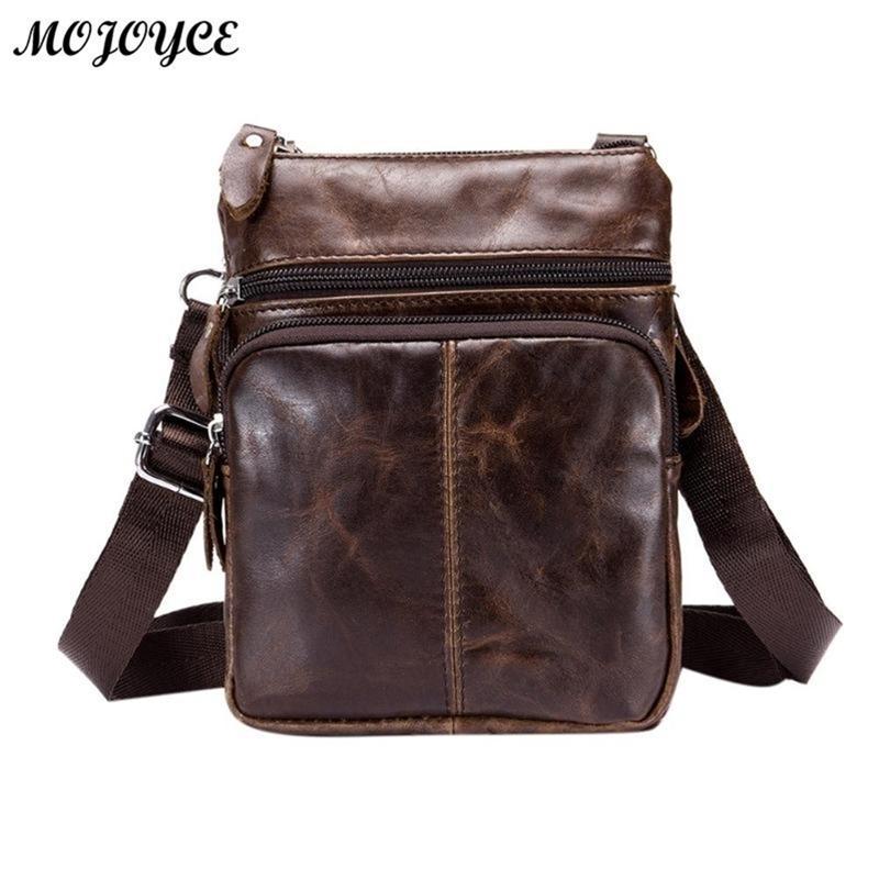 Bullcaptain Business Business Crossbody pour hommes Mode petite saut d'épaule Sling Véritable sac en cuir sac à main Bolsas Y201224