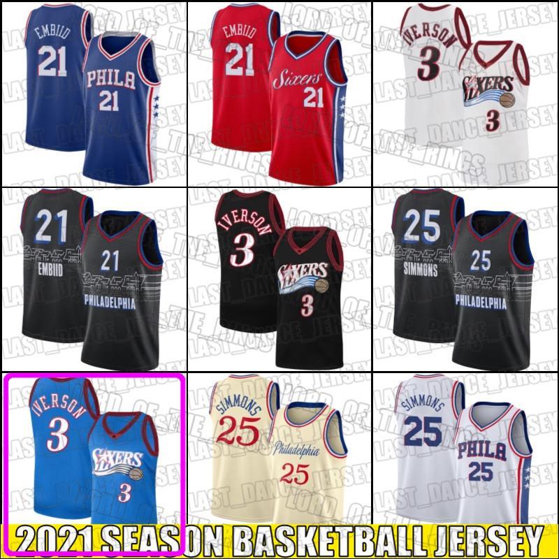 Ben 25 Simmons Jersey Joel 21 Embiid Jerseys Allen 3 Iverson Jersey Throwback Basketball Trikots 51HJ, ASD