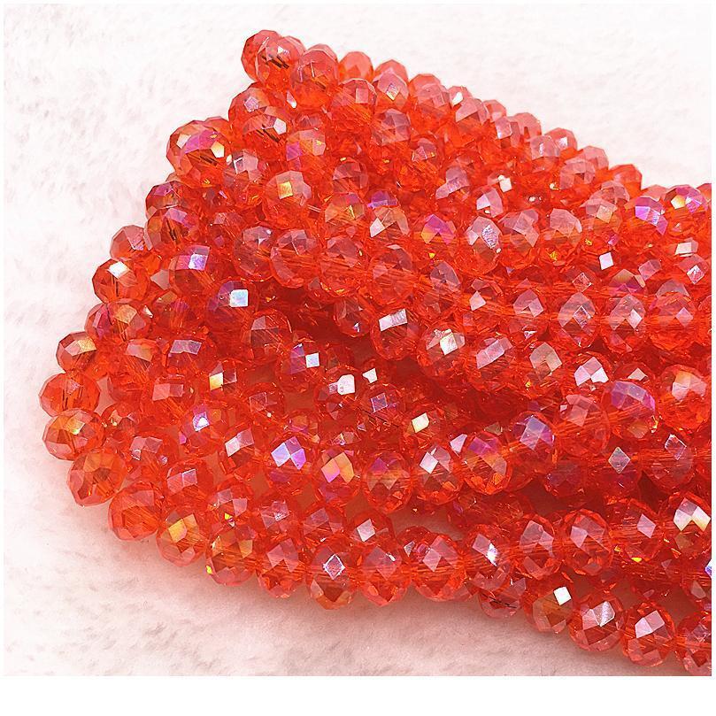 Chaud 30pcs / lot 8x6mm Rondelle Autriche Perles de verre à facettes en cristal lâche spacer perles rondes bricolage bijoux fabrication de BRACE QYLEIJ