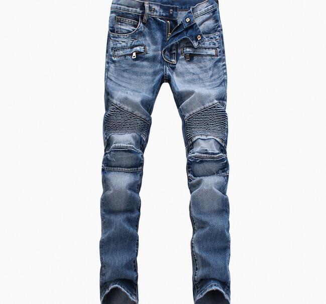 Atacado Blue / Preto Destruído Mens Slim Denim Reto Biker Skinny Jeans Casuais Homens Longos Rasgados Jeansnz01