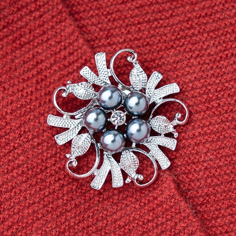Neue Ankunft Große Blume Broschen für Schal Creme Weiß Grau Imitation Perle Pin Für Frauen Kleid Brautschmuck Hochzeit Geschenk