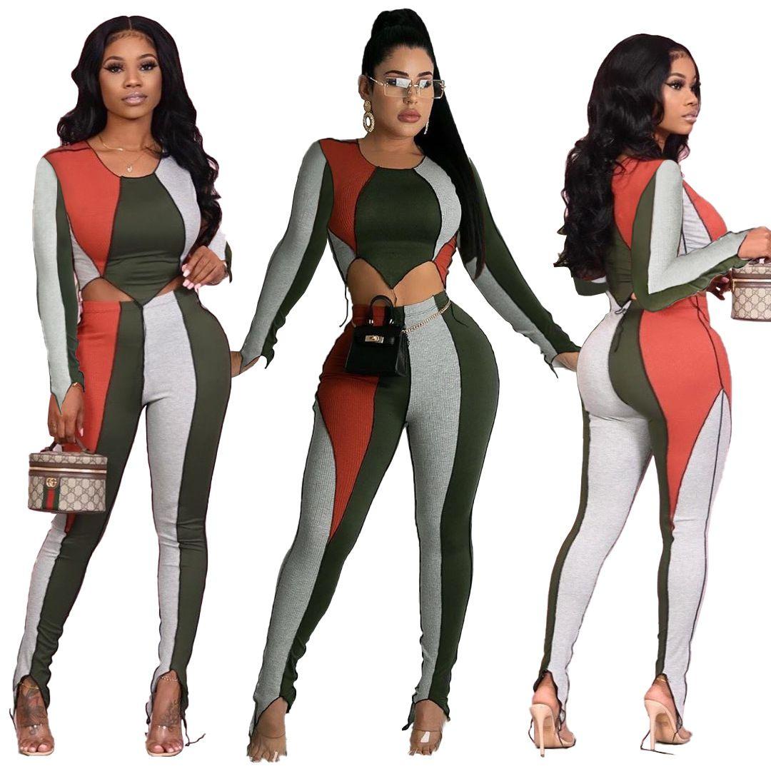 mulheres designers de roupas outono 2020 de inverno de três cor da costura mulheres sweatsuits moda dois ternos pedaço de corrida S-3XL