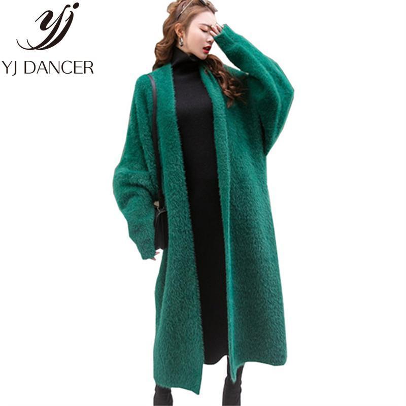 2020 Nuovo Inverno Cardigan lungo cappotto di visone maglieria in cashmere maglione casuale delle donne di alta qualità spessore caldo femminile maglioni CSS325