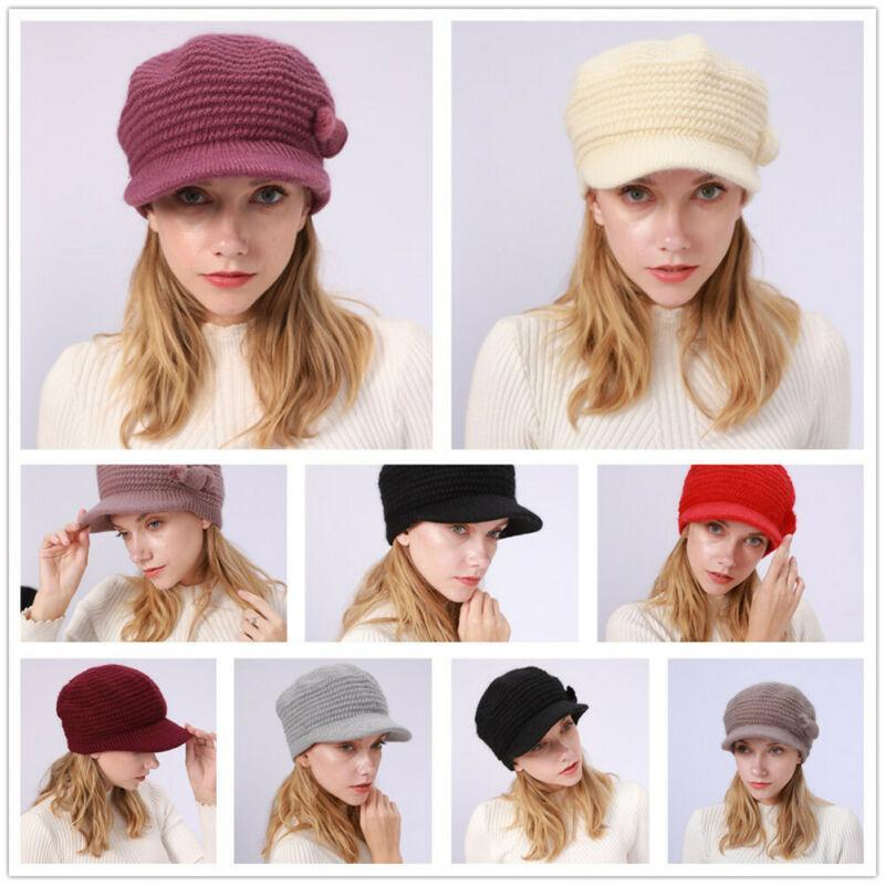 Berets 2021 Proste Kobiety Dzianiny Solid Color Hat Futro Beret Dla Lady