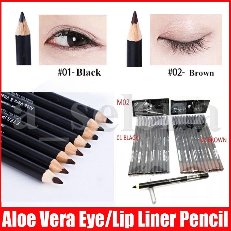 ماكياج العيون M اتجاهين الحواجب كحل القلم العين / قلم الشفاه قلم رصاص مع الألوة فيرا فيتامين E براون الأسود