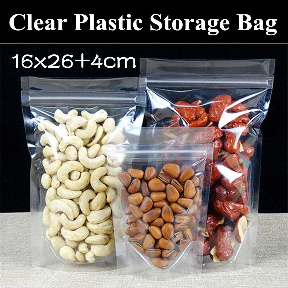 "Embalaje de plástico de plástico 160Micron Borde 16x26 + 4cm Up Bolso 50pcs Bolsa Regalo Transparente recloso (6.3 ""x10.2"") Soporte de cremallera UVWNF"