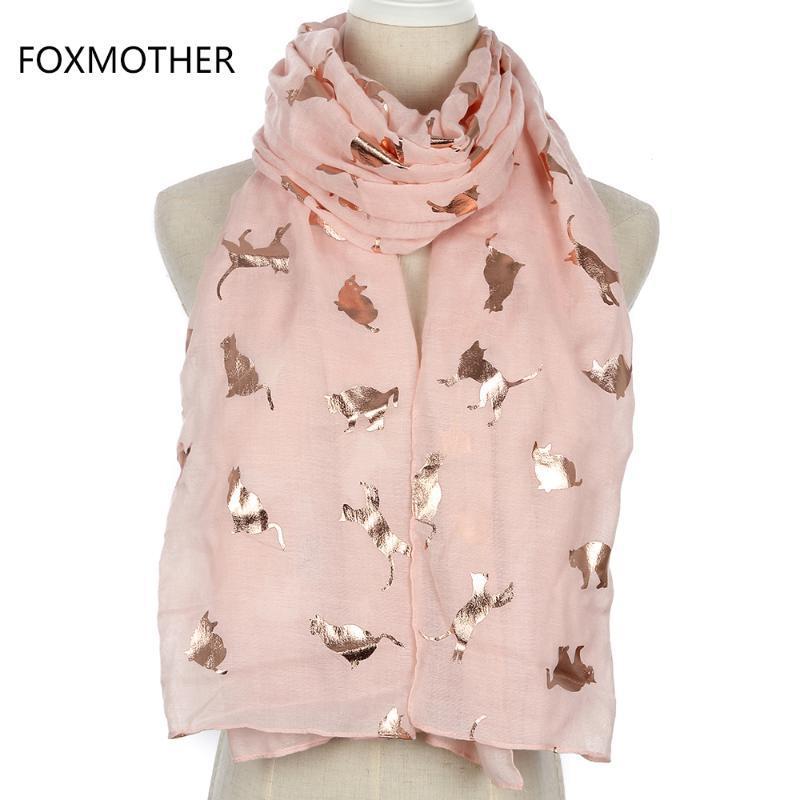 Sciarpe foxmother design moda lucido rosa grigio navy colore foglio oro metallico gatto sciarpa scialle shawl foulard signore madre regali