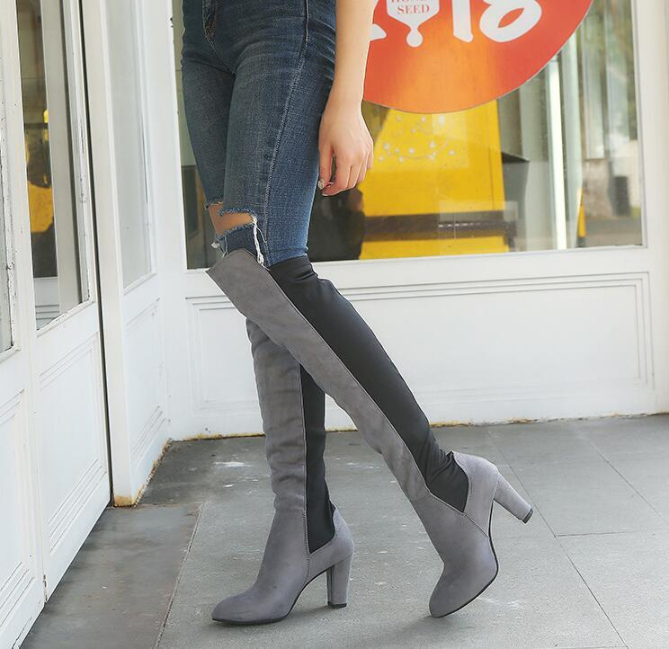 HBP Yeni Stil Kadın Çizmeler Üzerinde Diz Sivri Toes Yüksek Topuklu Lady Sıcak Ayakkabı Elastik Set Botları Giymek Kolay 34-43