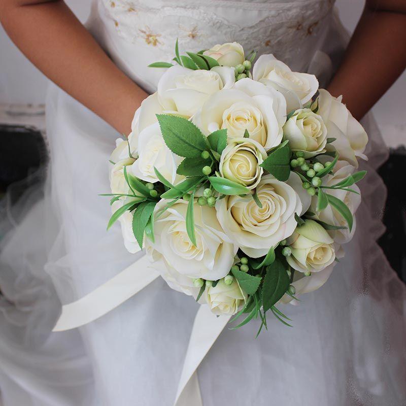 Beyaz pembe gelin buketleri yuvarlak düğün çiçek yapay güller de mariage el yapımı broş düğün parti dekorasyon