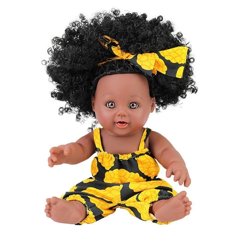 Bebek Reborn Bebekler Oyuncak Siyah Kız Bebekler 30 cm Siyah Bebek Bebekler Pop Yeşil Afrika Toddler Yeniden Doğmuş Bebek Yumuşak Oyuncak Kız Çocuk Todder A515 Y200111