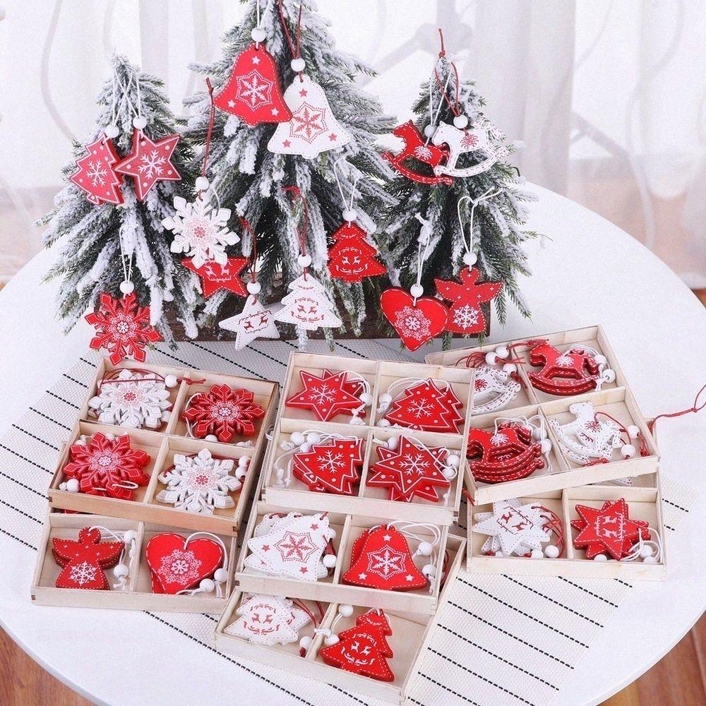 12PCS / caja de madera Feliz Navidad Decoración para el hogar del copo de nieve de la estrella de Santa Claus campanas del árbol de Navidad Ornamentos colgantes, B tKZP #