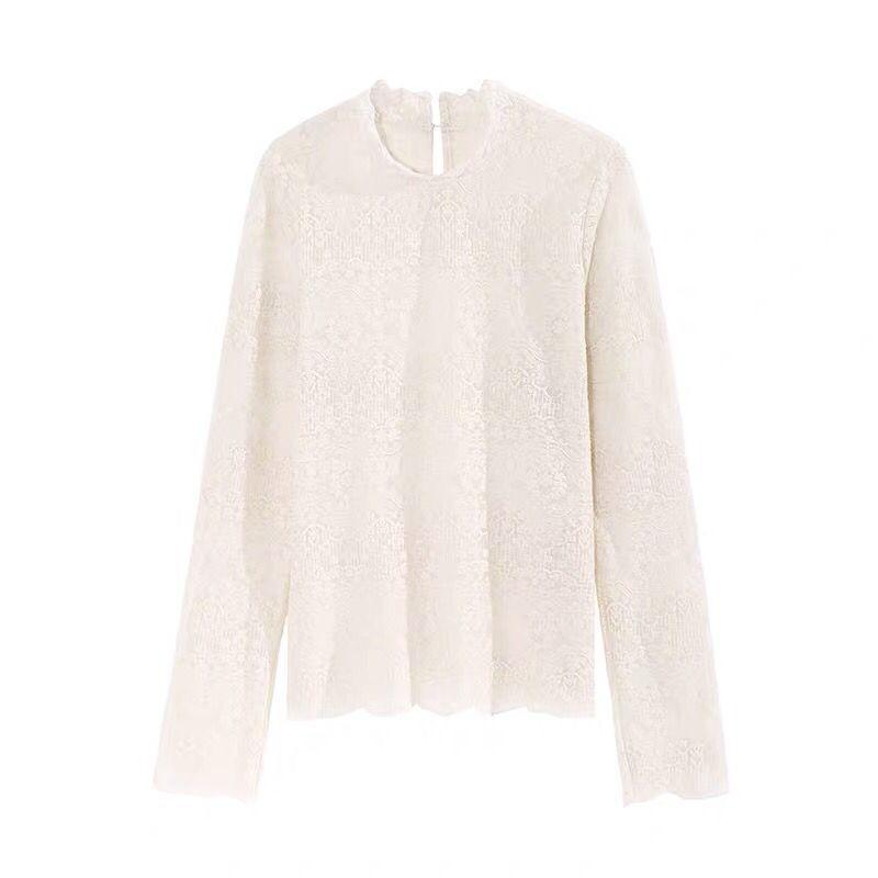 Autumn and winter new style small jacket high-collared lace embroidery delicate inner mesh blouse
