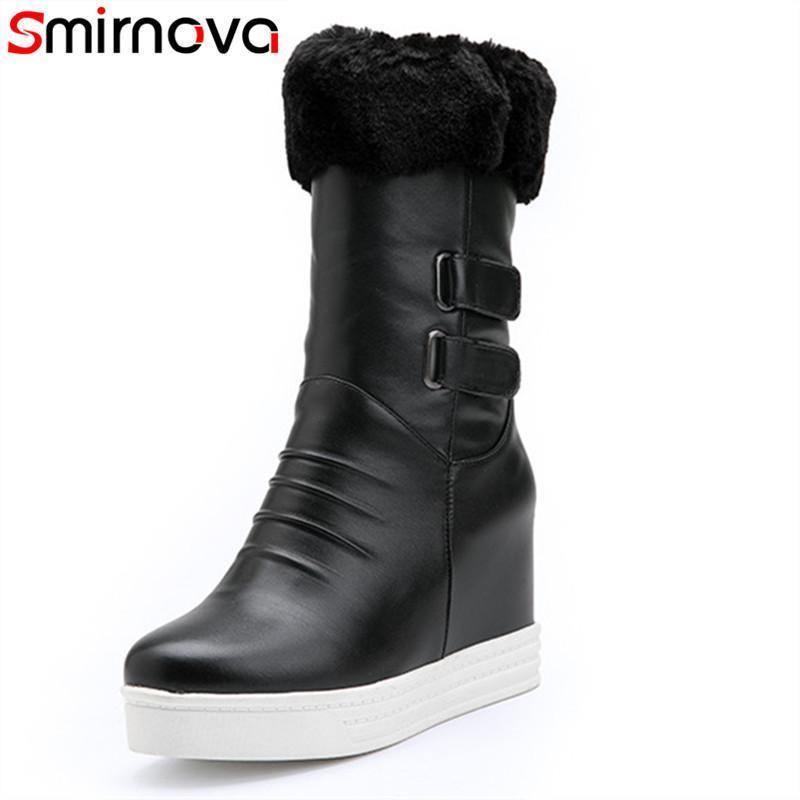 Smirnova 2020 Stivali invernali donna metà degli stivali polpaccio scivolare su scarpe casuali altezza vestito aumentando sexy tacco alto donne