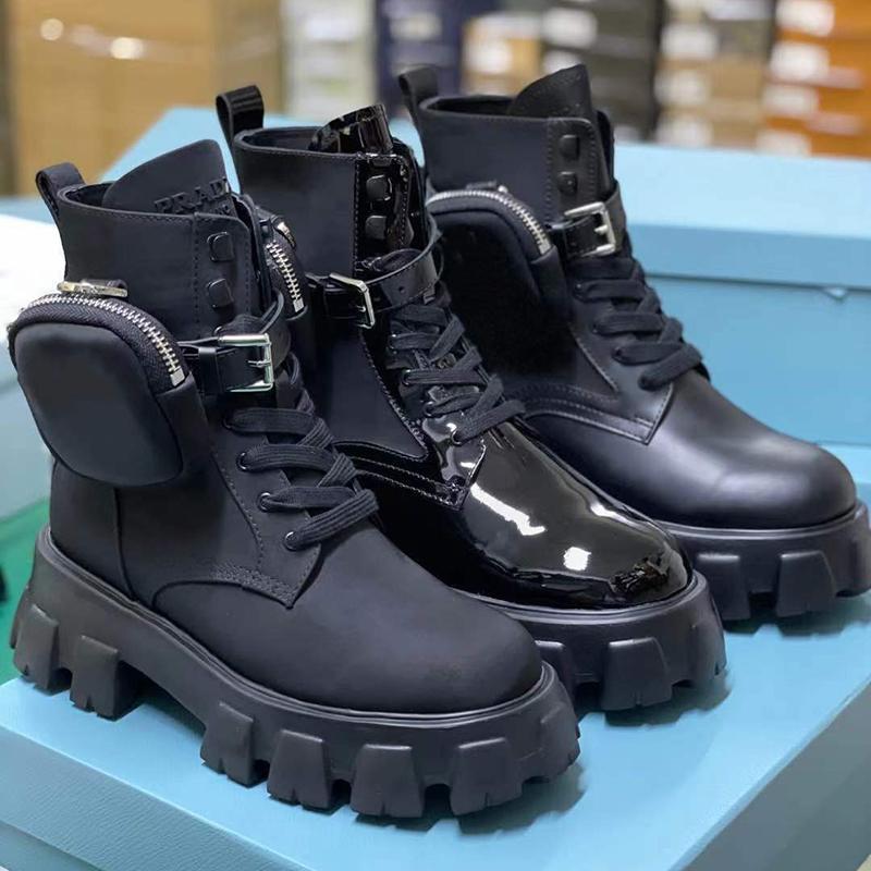 2020 여성 Monolith Re-Nillon Boot Rois 전투 부츠 가죽 발목 마틴 부츠 파우치 배틀 슈즈와 고무 솔 플랫폼 신발 상자