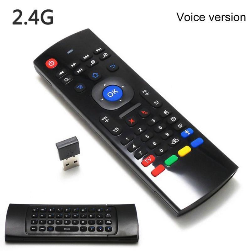 2.4G sans fil universel Air Mouse contrôle gyroscopique voix Sensing Mini clavier télécommande pour PC Android TV Box double face