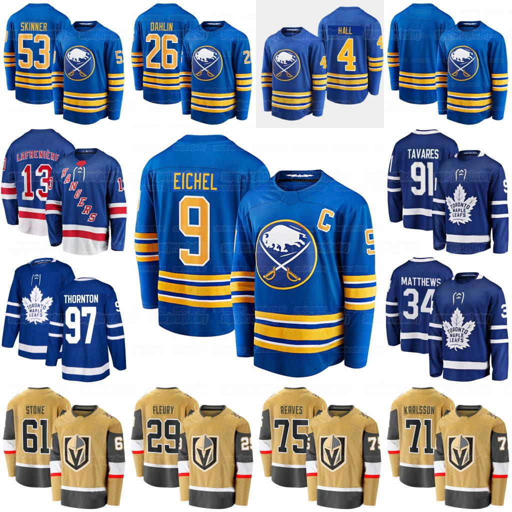 Men Jack Eichel Hockey Jersey Alexis Lafreniere Joe Thornton Marc-Andre Fleury Ryan Reaves Mark Stone Rasmus Dahlin Jeff Skinner Karlsson