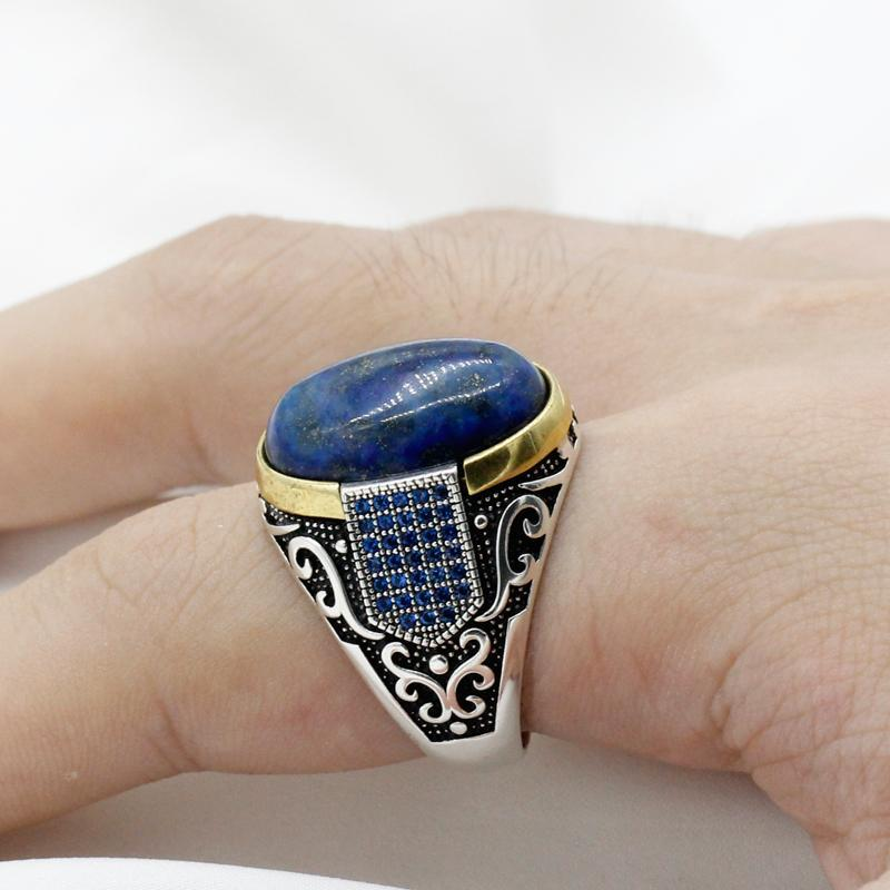 Vintage Natural Lapis Lazuli Stone Men Ring Sterling Silver 925 Pave Setting Blue CZ Male Rings Antique Silver Turkey Jewelry