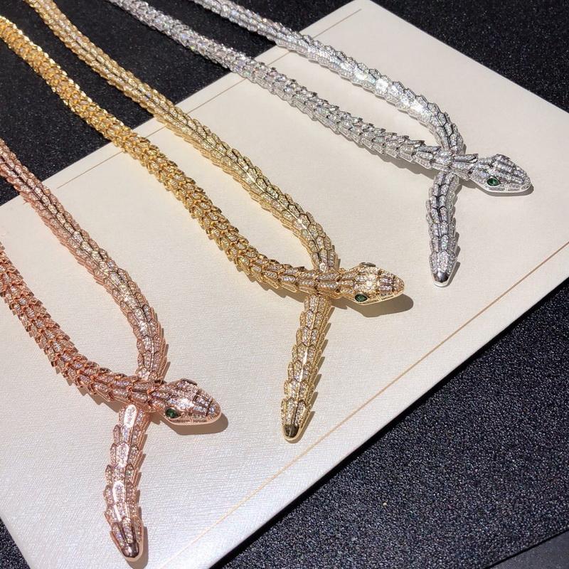 La manera de lujo Señora de latón completa diamante escamas verdes Ojos circón Serpiente Serpiente de 18 quilates chapado en oro Collares Gargantillas 3 Color