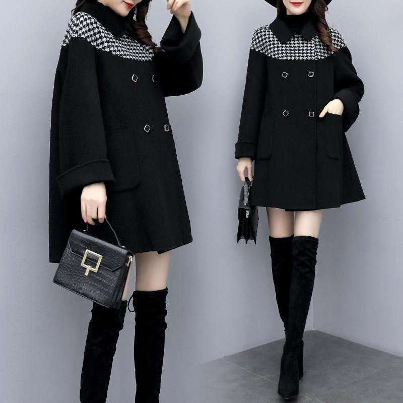 Donne invernali Black Boundsooth Giacca giacca daooth cappotto caldo autunno patchwork woolenovercoat casual outwear femmina moda cappotti di moda