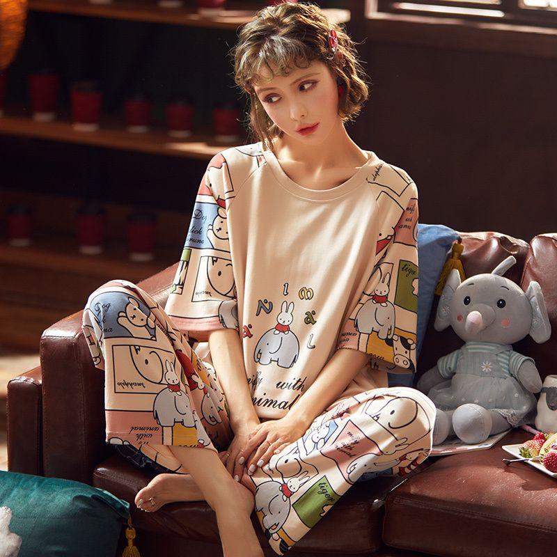 Kısa Kollu Pamuk Pijama Bahar Kadın Yaz Pijama Setleri Pijama Pijama Pijama Gecelikler Seti Uzun Pantolon W1225