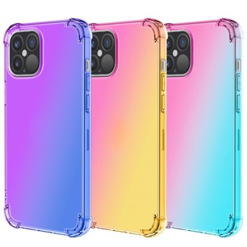 Gradient double couleur TPU transparent + PC antichocs Téléphone pour iPhone 12 11 Pro Max XR XS MAX 8 Plus