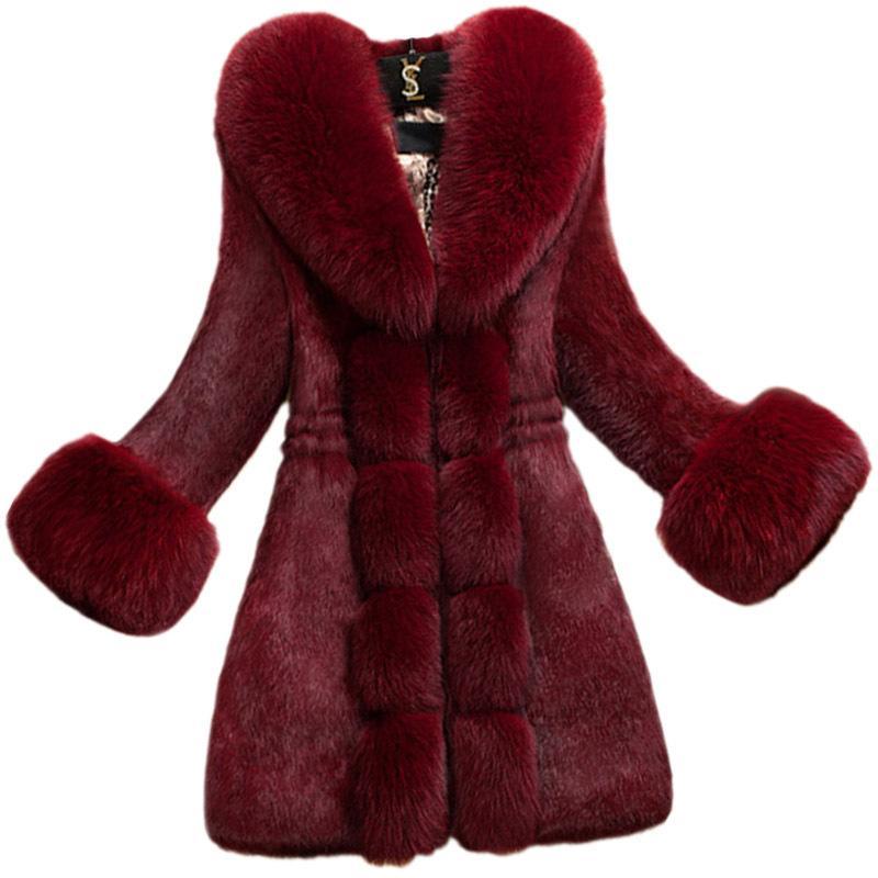 XXXXL para mujer abrigos de pieles Moda Slimfit más el tamaño de invierno caliente de la chaqueta de piel falsa de la Mujer 2021