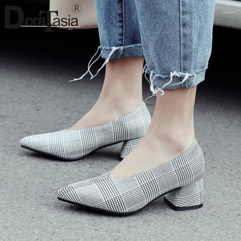 DORATASIA Plus Size 30-48 Brand Ladies Chunky Heels Pumps Shallow Party Pumps Women Fashion Pointed Toe Spring Shoes Woman1