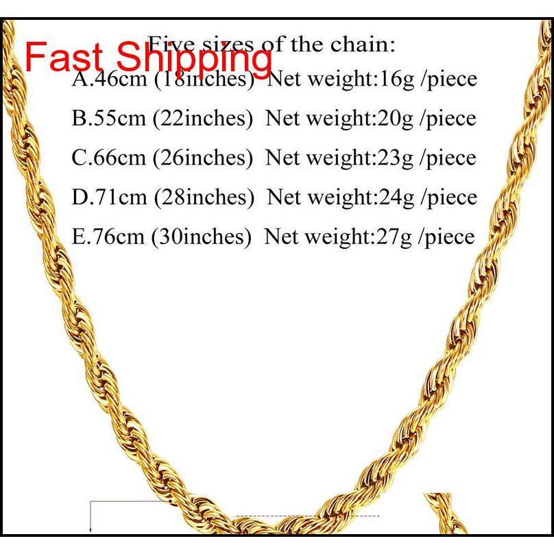 Colar de cadeia de corda de aço inoxidável de ouro real 18k para homens cadeias de ouro fas qylxdw bde_home