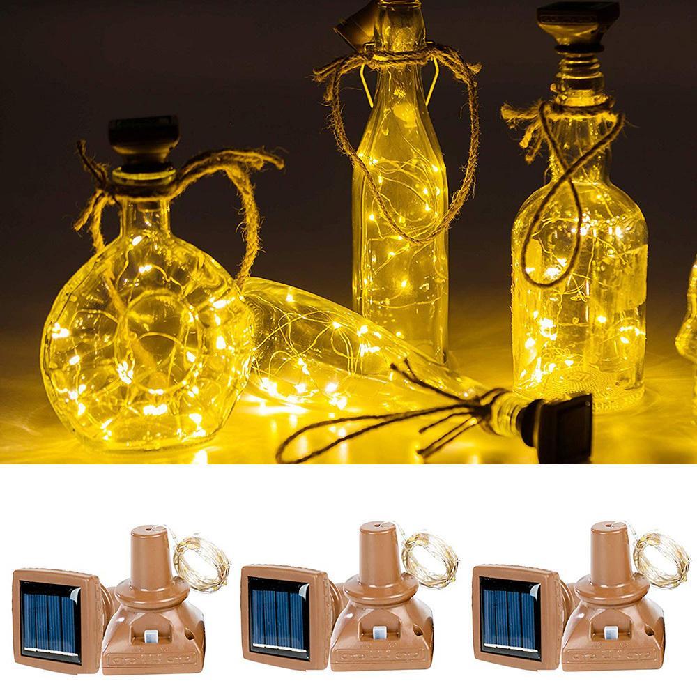 1PCS 2M 20leds تعمل بالطاقة الشمسية للماء زجاجة النبيذ كورك أسلاك النحاس على شكل LED سلسلة الأنوار لحفل زفاف عيد الميلاد