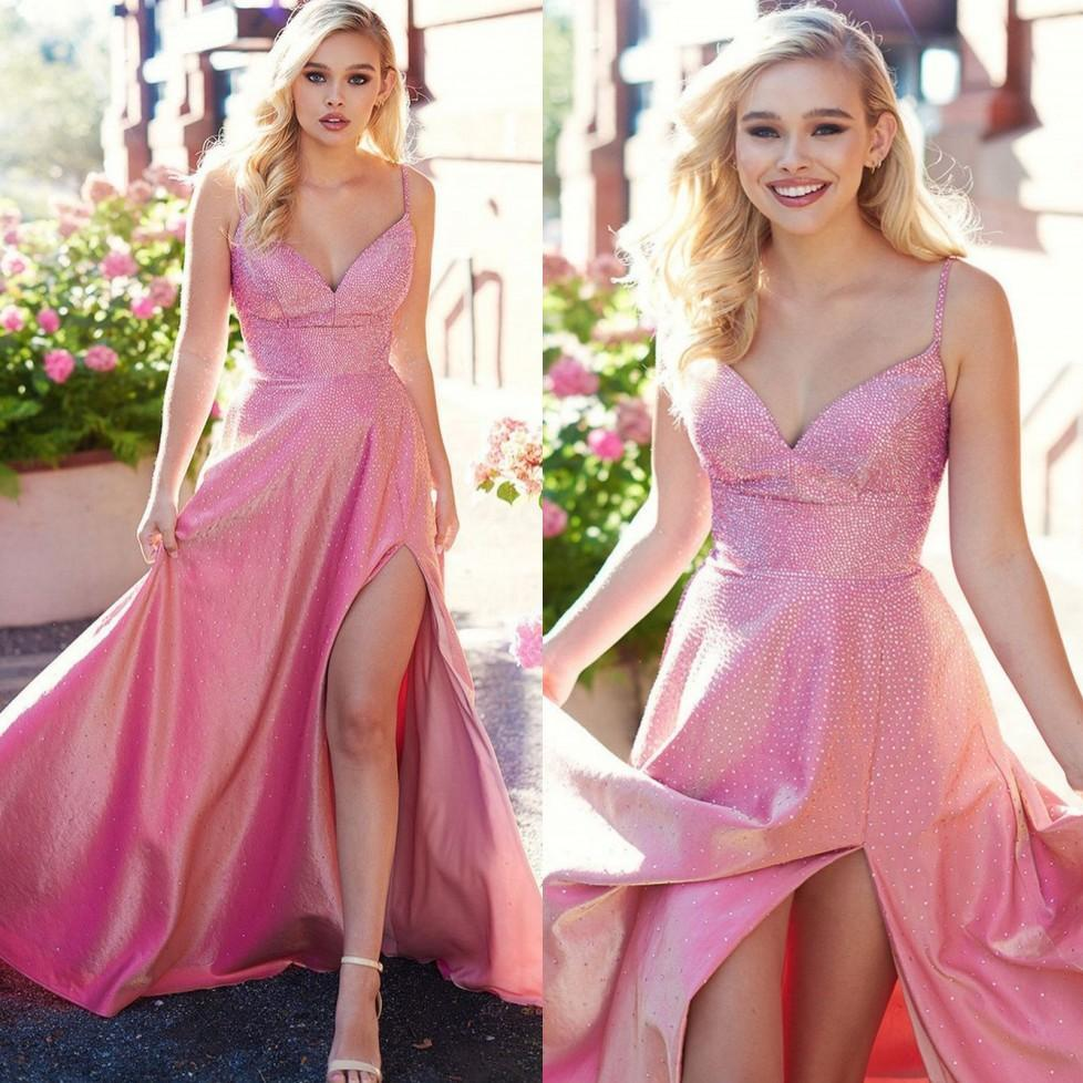 2021 cristalli bordati Rosa Prom Dresses spalline di lusso su ordine fessura del lato ALLA linea abito di sera Occasione Abiti formali Plus Size