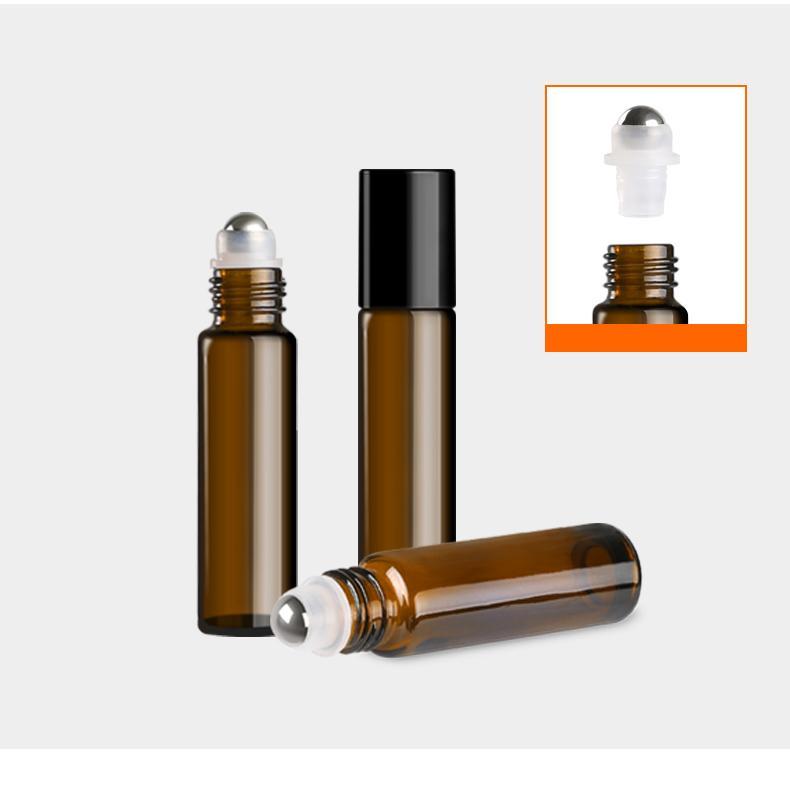 (36pcs) 10ML Perfume botella bola azul / aceite de cristal contenedores de perfume recargable de color marrón con la bola de rodillo de acero inoxidable